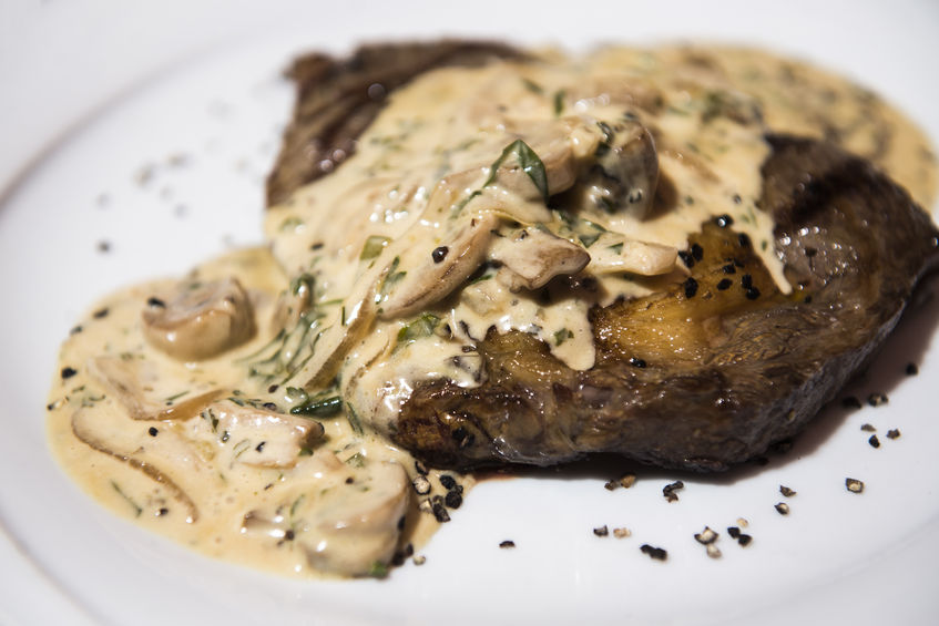 Steak with a Creamy Mushroom Sauce